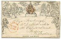 1840 1d Mulready l/sheet to Reading -distinctive Salisbury fluid purple-brown MX