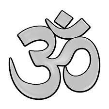 "F44-MAG  Om 3D Chrome Auto or Truck 5"" Emblem Hindu Tibet  MAGNET"