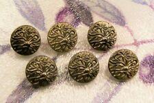 6 vintage (unused) black glass 'flower' buttons/dark silver lustre 17 mm.diam.