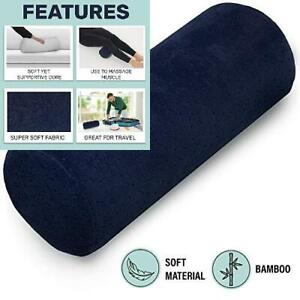 Bamboo Navy Round Cervical Roll Cylinder Bolster Pillow with Removable...
