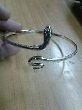 bracciale schiava  serpente  da braccio bagno argento bracelet silver plated tg