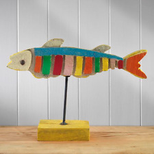 Large Multi Coloured Hand Painted Eco Reclaimed Wood Fish Ornament on Plinth