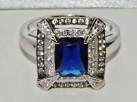 Sterling Silver Blue Sapphire & Zircon Antique Style Large Cocktail Ring size T