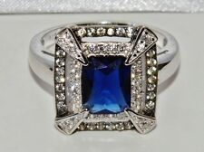 Sterling Silver Blue Sapphire & Zircon Antique Style Large Cocktail Ring size N