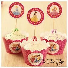12x Disney Princess Cupcake Topper + Wrapper. Lolly Loot Bag Box Bunting Party