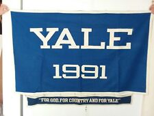 Vintage YALE 1991 GRADUATION FELT LARGE BANNER.  2 FT BY 4 FT FOOTBALL PENNANT