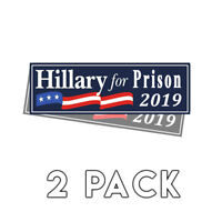 Anti Hillary - Hillary For Prison Blue Bumper Sticker 2019 Decal 2 Pack