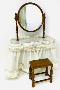 "16"" DRESSING TABLE W/MIRROR, SKIRT AND STOOL FOR LARGE DOLL"