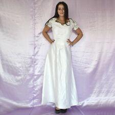 Perlas En Vestido de Novia S (38) Blanco Estilo Campana Baile Maxi