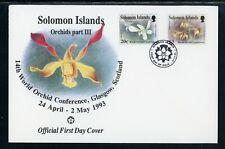Solomon Islands Scott #752//755 FIRST DAY COVER Orchids FLORA Glasgow Conf. $$
