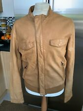 GUESS MENS TAN LEATHER JACKET SIZE L