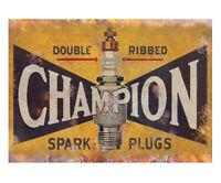 Champion Spark Plug Metal Advert Sign Vintage Garage Workshop Shed Plaque