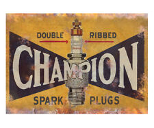 Champion Spark Plug Metal Advert Sign Vintage Garage Workshop Shed Plaque