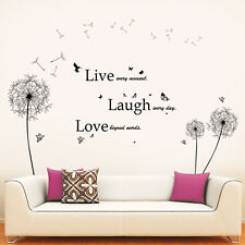 Wall Sticker Decal Black Dandelion with Classic Live Laugh Love Quote Decoration
