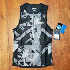 Zoot Mens X-Small Tri Tank Performance Top Black Gray Jersey Triathlon Shirt Xs