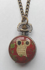 "Red Owl Pocket Watch - Clock 32"" Chain - Necklace Gift - For Women"