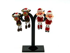 3D Christmas X-Mas SANTA CLAUS RUDOLPH 2pc Earrings Set Gift Dress Accessory