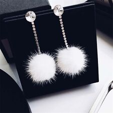 Rhinestone Long Dangle Earrings White Fur Drop Ball Earrings Women Ear Jewelry