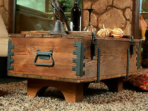 Old Chest Box Table Shabby Chic Wood Side Table Wooden Chest Coffee Table 16AF