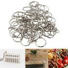 50Pcs Silver DIY Polished Keyring Blanks Key Chain Split Ring Short Chains 25mm