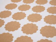 Scallop Round Kraft Brown Sticker Labels blank DIY craft A4 multipurpose sheets