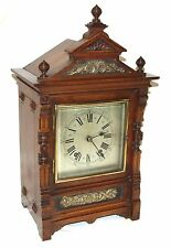 Antique Oak & Brass TING TANG Bracket Mantel Clock : CLEANED & SERVICED (a60)