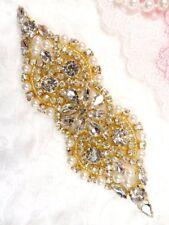 """Crystal Rhinestone Applique Gold Beaded w/ Pearls diy Bridal Bling  4.75"""" GB612"""