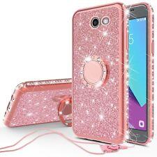 Galaxy J3 Prime/J3 Emerge Cute Bumper Rhinestone Bling Glitter Ring Stand Cover