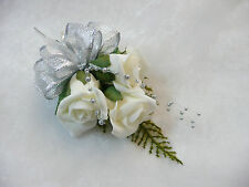 Ivory Rose & Silver Wedding flower buttonhole  pin on