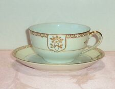 Antique Noritake Hand Painted Cup and Saucer Gold Floral White Yellow Band