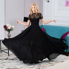 UK Women Black Lace Prom Dress Evening Party Formal Ball Gown Long Maxi Dress
