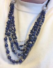 "Genuine Lapis /Sodalite 925 Sterling Silver 28"" Multi-Strand Chain Link Necklace"