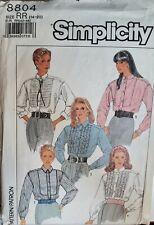 Vtg Simplicity pattern 8804 Misses' button front, long slv Shirt  sz 14,16,18,20