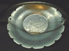 """LRG 12"""" WROUGHT HAMMERED ALUMINUM SERVING TRAY DISH ETCHED LILLY DESIGN W HANDLE"""