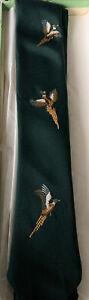Vintage SILK QUAIL NECKTIE Abercrombie & Fitch Embroidered Bird Tie + BOX Navy