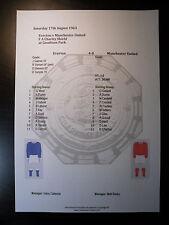 1963 FA Charity Shield Everton v Manchester United Matchsheet