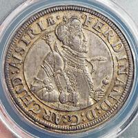 1595, Austria, Archduke Ferdinand II. Silver Thaler Coin. Hall mint! PCGS AU+