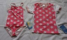 Girls size 6 One piece BATHERS pink & white stars & short sleeve Rash vest  NEW