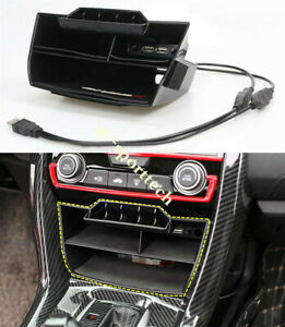 FIT For Honda Civic Sedan 2016-2019 ABS Inner Console Storage Box with USB 1PCS