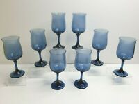 Libbey Connoisseur Blue Vintage Tulip Wine Stemmed Flared Shape Rim Glasses Set