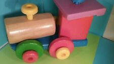Vintage toy wooden train engine, can be taken apart and re-assembled