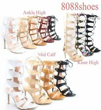 Women's  Strappy Cutout Lace Up Open Toe Gladiator High Heel Sandal Size 5 - 10