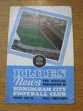 26/04/1958 Birmingham City v Leicester City  (top corner is torn, folded). Item