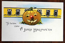TO WISH YOU A JOLLY HALLOWEEN Fantasy Postcard Owls & Jack-O-Lantern ca.1918