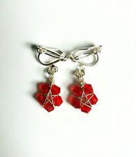Handmade Red Faceted Glass Bead Star Flower Clip On Earrings, Kids Earrings