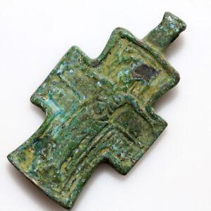 LATE BYZANTINE BRONZE CHRISTIAN CROSS PENDANT CIRCA 1200-1400 AD