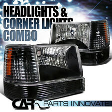 1993-1996 Jeep Grand Cherokee Crystal Black Headlights w/ Bumper Corner Lamps