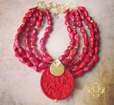 Red Cinnabar Pendant Turquoise Howlite Chunky Statement Necklace Gold Jewelry