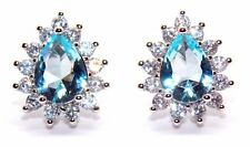 Sterling Silver Sky Blue Topaz And Diamond 2.98ct Stud Earrings (925)