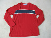 VINTAGE Tommy Hilfiger Long Sleeve Shirt Adult Small Red Blue Spell Out Men 90s